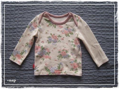 クロスショルダー長そでTシャツ(watercolor flower)・80