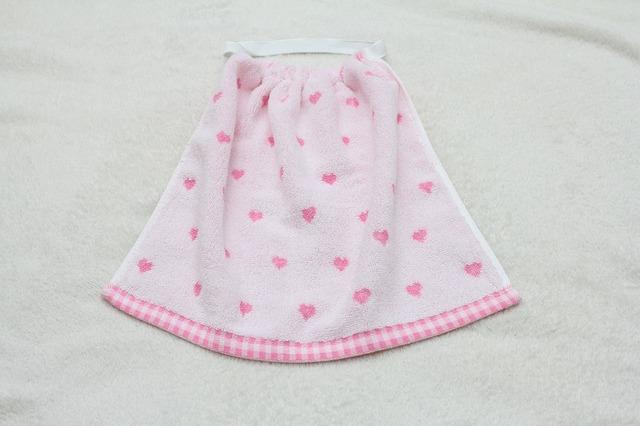 再販2☆タオルエプロン ピンクのハート