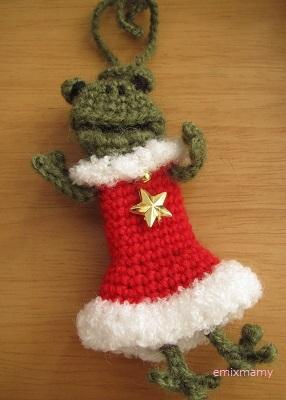 【SALE】あみぐるみ!ケロリップオーナメント、クリスマスケロル♪【指人形】