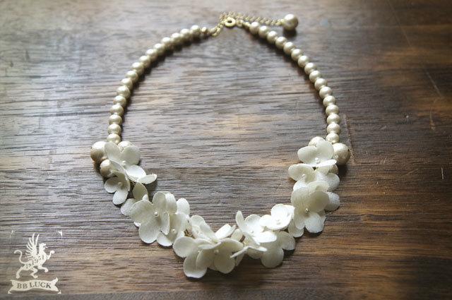 necklace 【 ちいさな紫陽花とコットンパールのネックレス 】