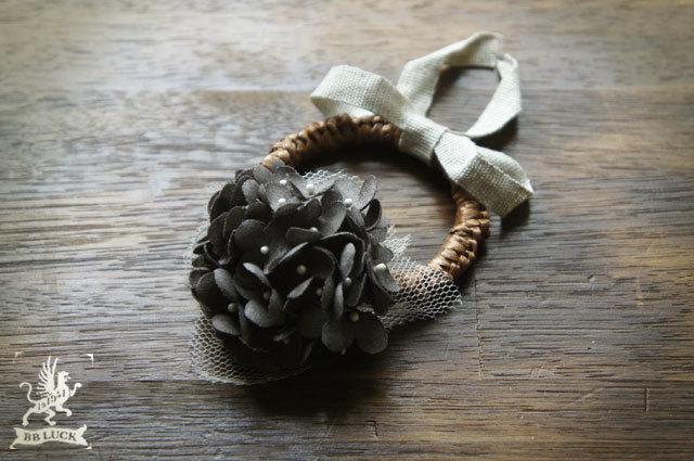 hair tie  【 ちいさな紫陽花とリボンのヘアゴム * charcoal grey 】
