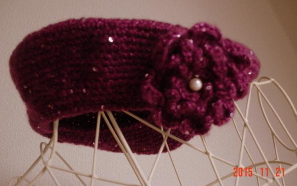 ☆彡モヘアの中でキラキラスパンコール・ニットベレー帽