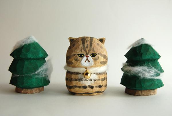 木彫り人形ねこ エキゾチィック こげ茶シマ [MWF-144]