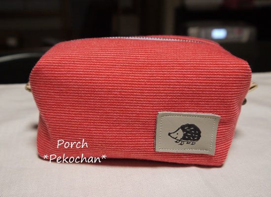 ニット生地のボックスポーチ・ほそーーい赤×ピンクボーダー♪