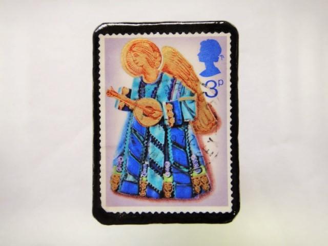 イギリス クリスマス切手ブローチ379