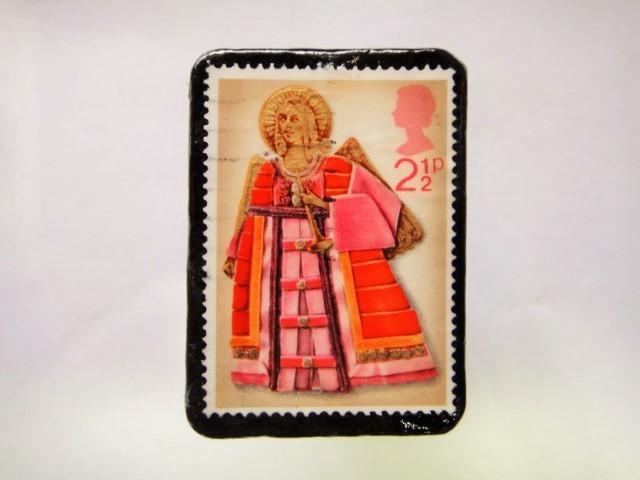 イギリス クリスマス切手ブローチ380