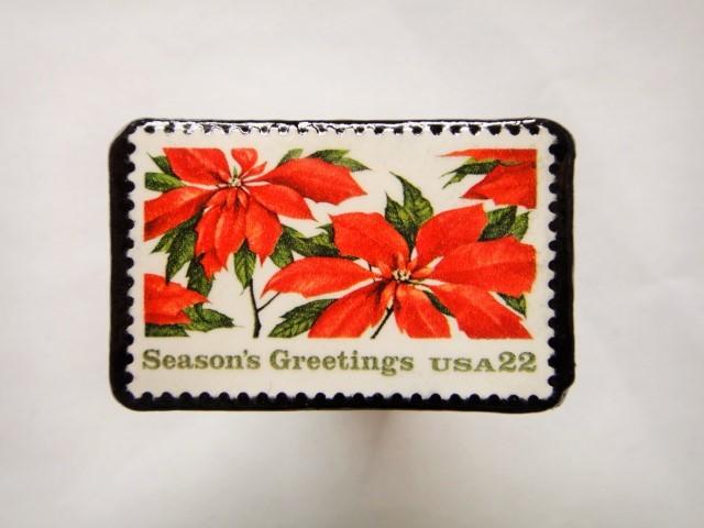 アメリカ クリスマス切手ブローチ 385