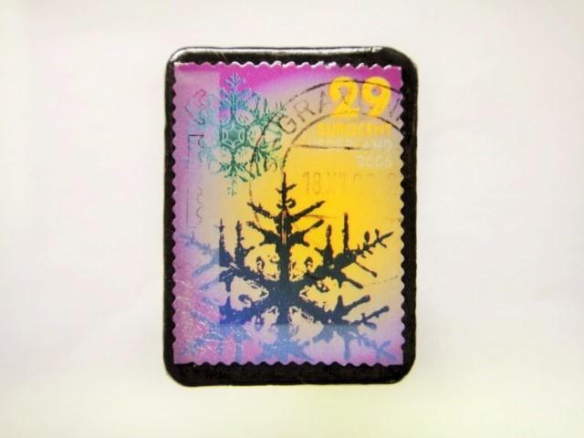 オランダ クリスマス切手ブローチ390