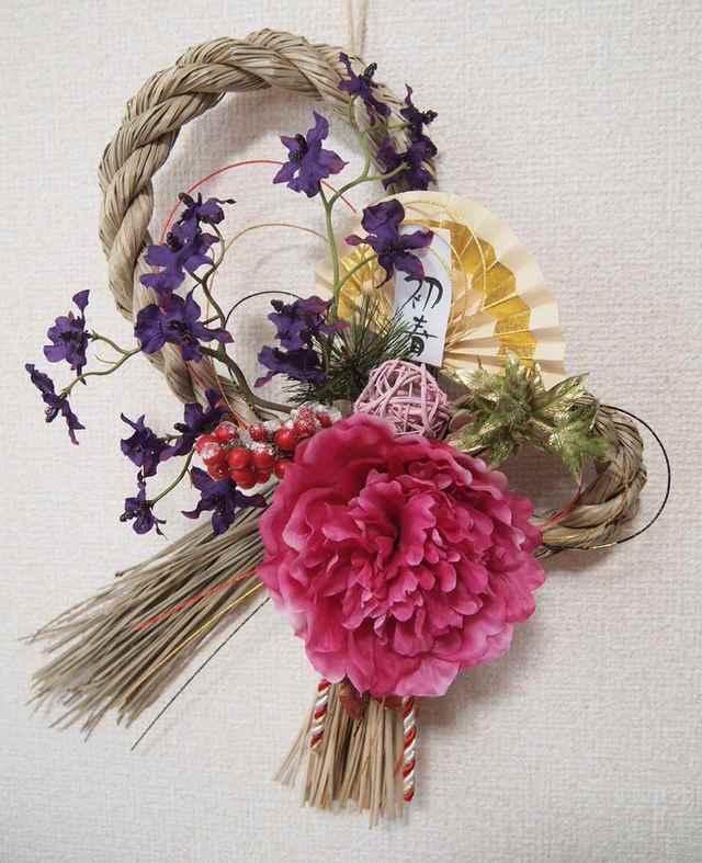 sawa-ya ~ お正月飾り・しめ縄・ピンクの大輪ピオニー(送料込)