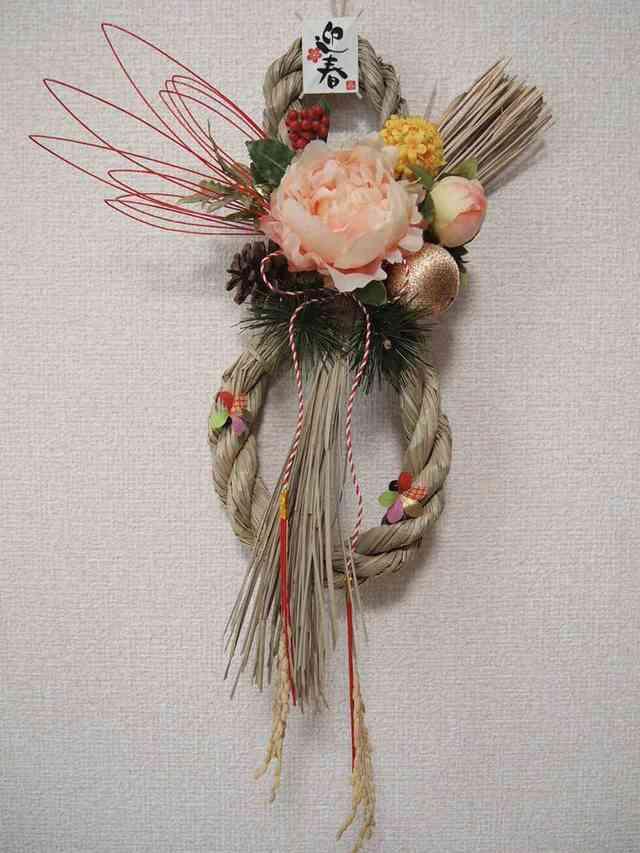 sawa-ya ~ 瓢箪型のお正月飾り・しめ縄・ピーチピオニー(送料込)