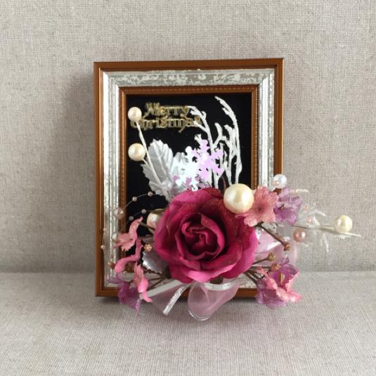 クリスマス・フレーム(ピンクのバラ)