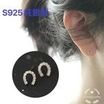 S925純銀製 ゴールド 蹄鉄 馬蹄形 ミニピアス