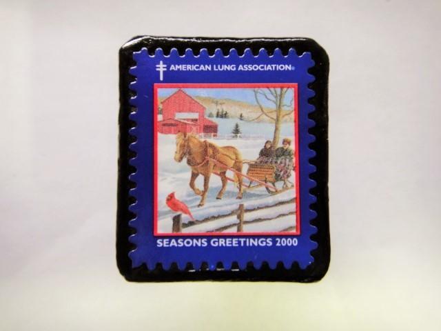 アメリカ クリスマス切手ブローチ398