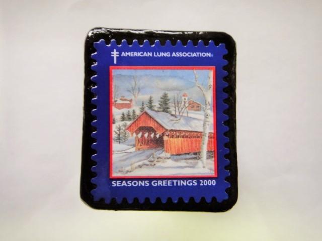 アメリカ クリスマス切手ブローチ399