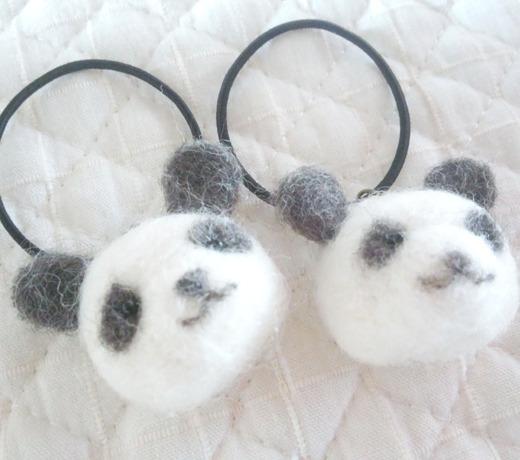 パンダのヘアゴム(2つセット)
