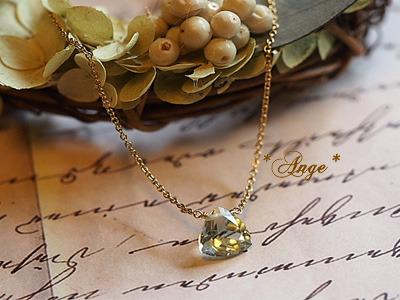 LさまOrder品 * 宝石質グリーンアメジストのトライアングルネックレス