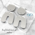 Silver mirror(4pcs)Acryl forked charm set