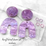 丸チャームサイズ変更‼️Purple moon(4pcs)Acryl forked charm set