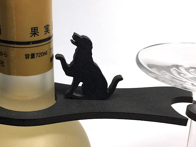 【送料¥90】 おねだり【黒犬レトリバー】木製グラスハンガー