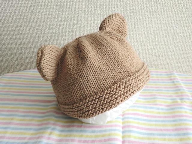 コットンウールのくま耳帽子 52cm