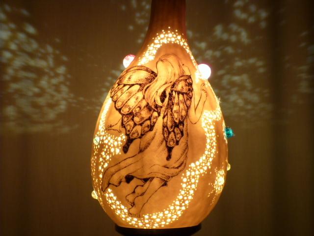 ひょうたんランプ ウッドバーニングアートコラボ フェアリーテイルズ