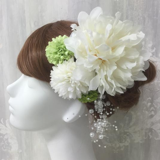 ピオニーとピンポンマムの髪飾り