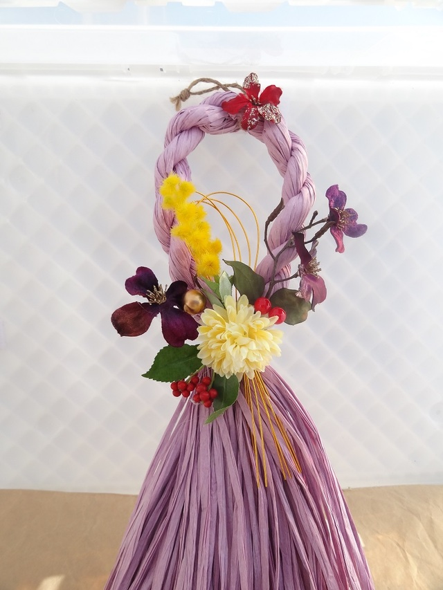 しめ飾り 「ミモザと花水木」