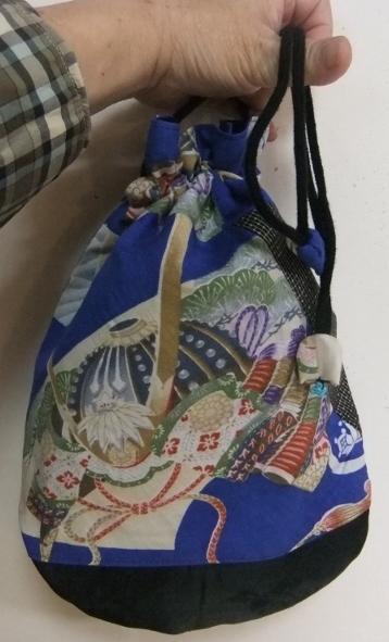 着物リメイク 男の子のお宮参り着で作った巾着袋 862