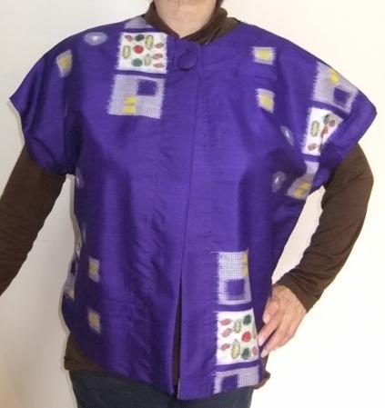 着物リメイク  銘仙の着物で作ったベスト 864