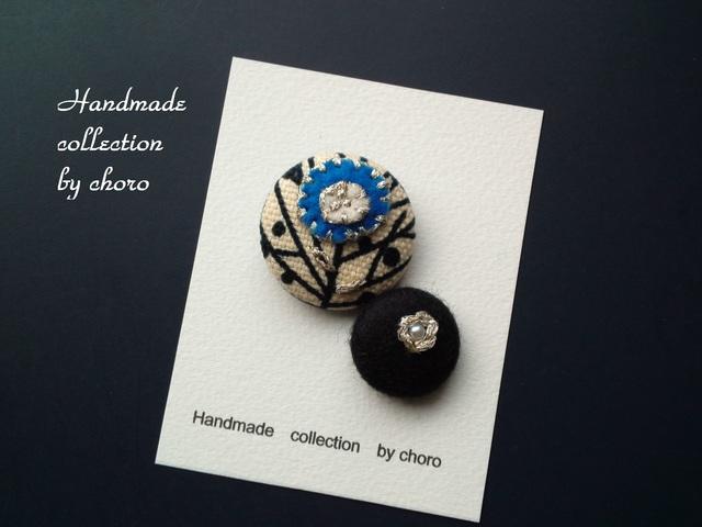 刺繍くるみボタンヘアゴムシリーズ(お花)