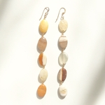 Jasper moonstone long pierce earring