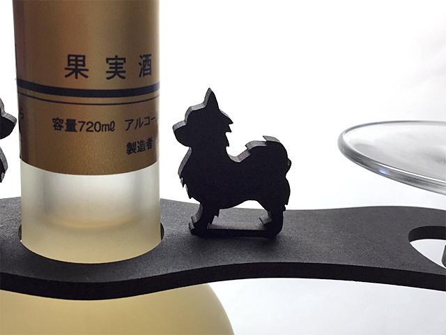 【送料¥90】 おねだり【黒犬チワワ】木製グラスハンガー