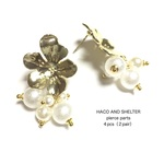4pcs(2pair)★flower pierce・pearl tassel(ピアスパーツ)