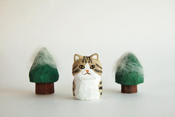 木彫り人形 キジトラ×白  [MWF-043]