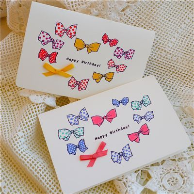 BIRTHDAY CARD DOTS RIBBON 2PC SET