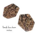 brown(2pcs)Female face charm