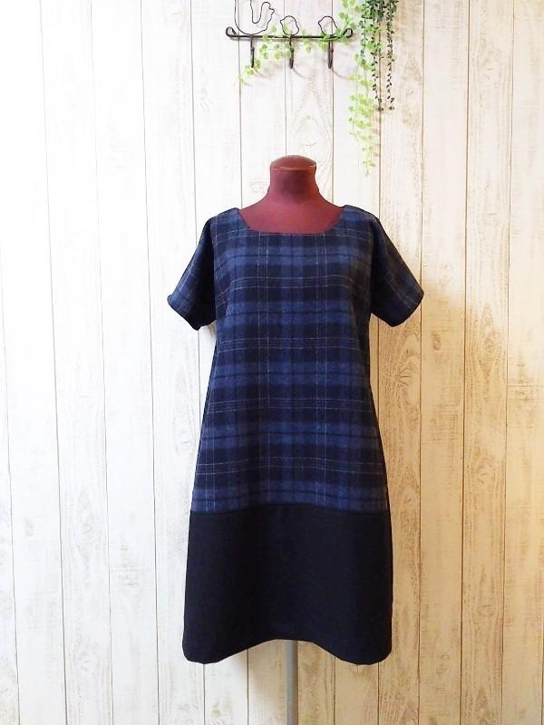 ☆  タータンチェック裾切り替えワンピ ブルー   ☆