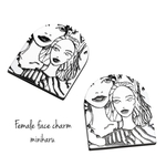 monotone(2pcs)Female face charm