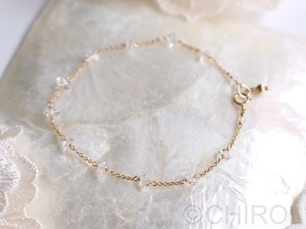 ・ハーキマーダイヤモンドのブレスレット・/14kgf