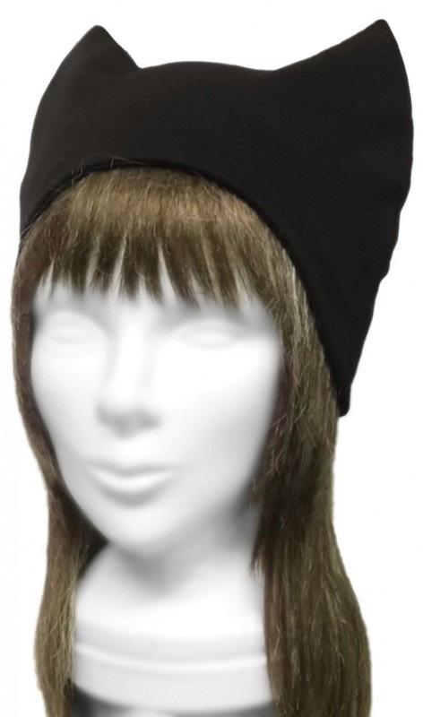 シンプル ネコ耳帽子(ゆったり)◆ウール混ニット/黒
