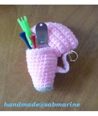 手編みキャディバッグ型ティ入れ