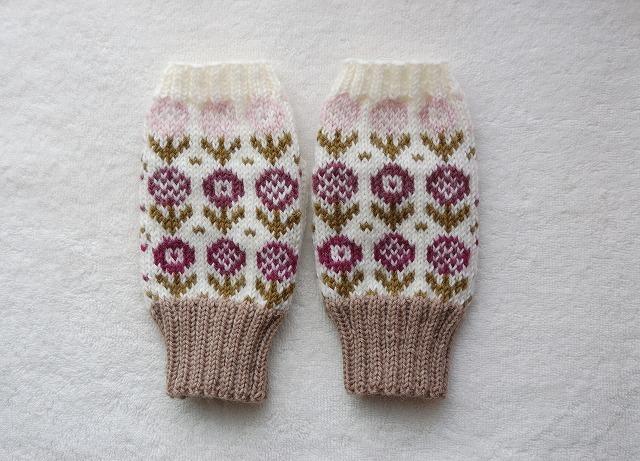 手編みの指なしミトン  【18 Fiori 】カラフル