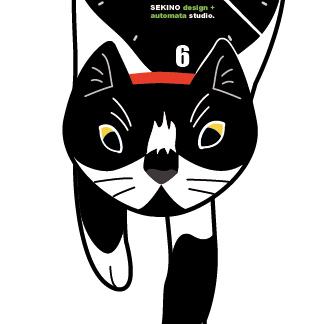 C-ichi 白黒ハチワレ(市松)-猫の振り子時計