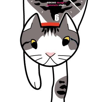 C-kae 猫の振り子時計-サバトラ+白