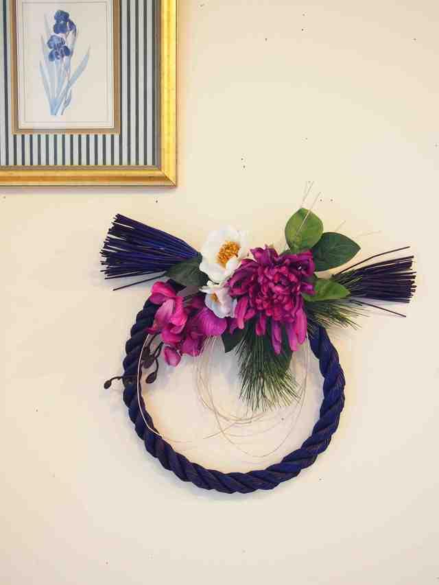 高級アートフラワーお正月飾り・しめ縄 blue&purple
