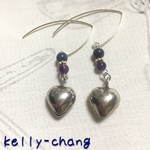 [Powerstone] Sapphire, Amethyst & Karen Silver bells earrings