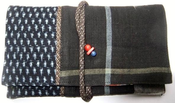 着物リメイク 男絣と久留米の絵絣で作った和風財布 874