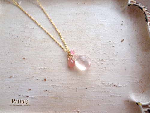 【14KGF】ローズクォーツ・インカローズ・ピンクスピネルのネックレス