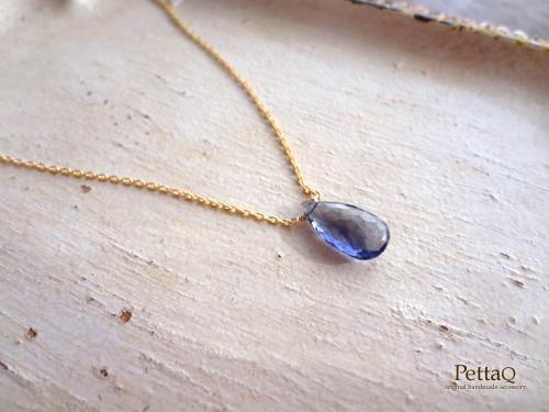 【14KGF】宝石質アイオライトのネックレス