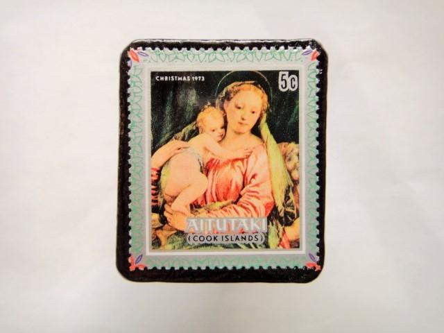 クック諸島 クリスマス切手ブローチ429